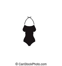 Woman swimming suit black vector concept icon. Woman swimming suit flat illustration, sign