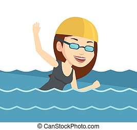 Woman swimming vector illustration. - Young sportswoman in...