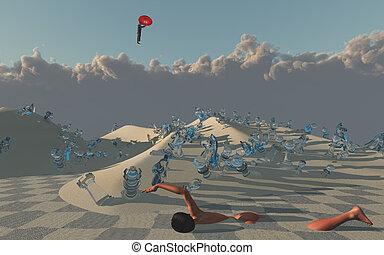 Woman swims through sands of surreal desert
