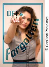 woman switching off Forgotten on digital interace