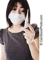 woman., syg, kinesisk