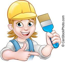 woman szobafestő, festő, ecset