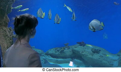 Woman take a photo in oceanarium. Technology and...