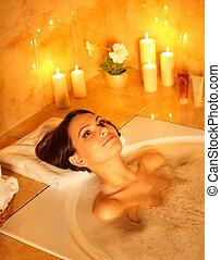 Woman take bubble bath. - Young woman take bubble bath.