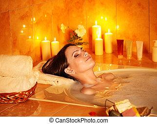 Woman take bubble bath. - Young woman take bubble bath with ...