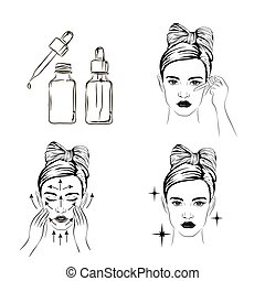 woman take care about face steps how to apply facial serum...