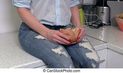 Woman take lunch