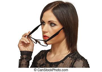 Woman taken off glasses