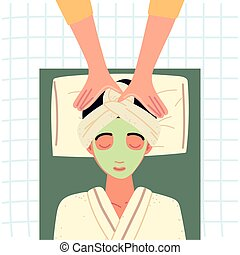 woman takes a facial massage