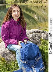 Woman taking a break during hiking