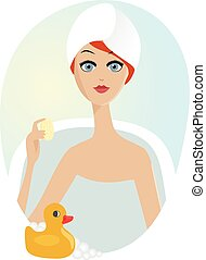 woman taking a relaxing bath with rubber duck