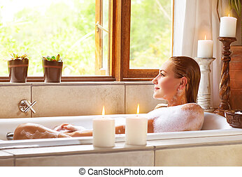 Woman taking bath - Picture of beautiful woman taking bath...