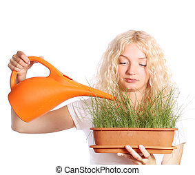 woman taking care of grass