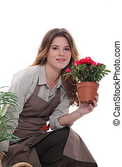 woman taking care of the plants