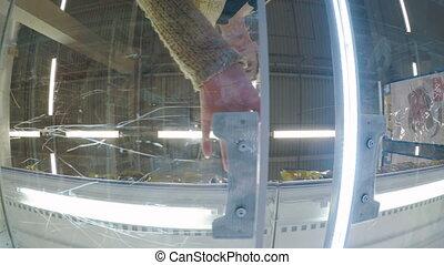 Woman taking frozen fish at supermarket - Woman opening...