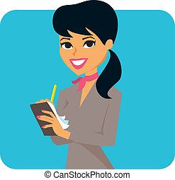 Woman taking notes - Cartoon of a woman wearing a suit and...