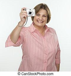 Woman taking photograph.