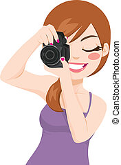 Woman Taking Photos - Beautiful happy smiling photographer ...