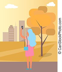 Woman Taking Picture of City Vector Illustration
