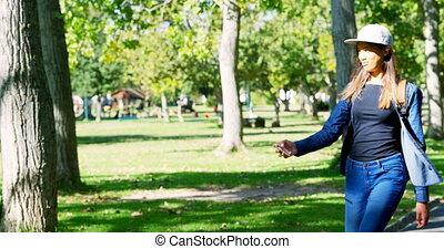 Woman taking selfie on mobile phone 4k