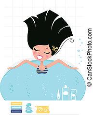 Woman taking whirlpool bath isolated on white ( retro )