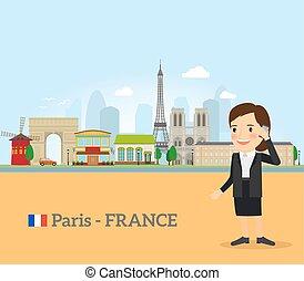 Woman talk on phone in Paris