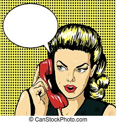 Woman talking by phone with speech bubble. Vector illustration in retro comic pop art style