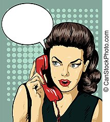 Woman talking by phone with speech bubble. Vector...