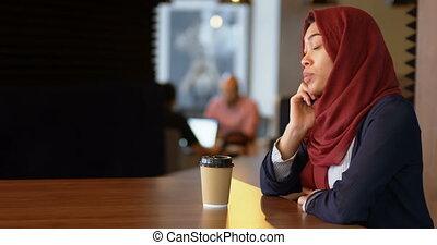 Woman talking on mobile phone 4k