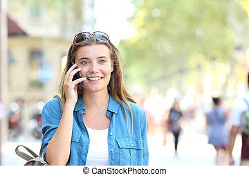 Woman talking on phone with copy space
