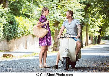 Woman talking to her boyfriend