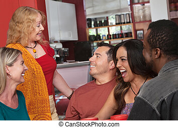 Woman Talking with Diverse Group