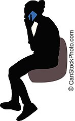 woman talking with phone, silhouette vector