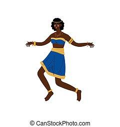 woman, tanzt, angezogene , afrikanisch, eingeboren, abbildung, traditionelle , hell, vektor, ethnisch, m�dchen, kleidung