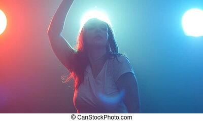 woman, tanzt, farbe, licht, junger, disko