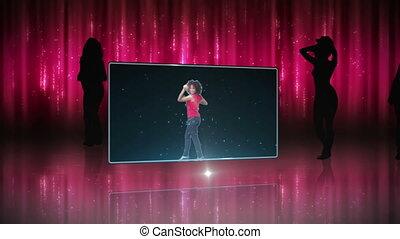 woman, tanzt, rosa