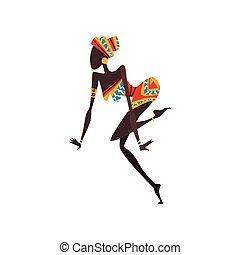woman, tanzt, tänzer, afrikanisch, eingeboren, abbildung, traditionelle , hell, vektor, weibliche , ethnisch, kleidung