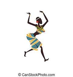 woman, tanzt, tänzer, rituell, tanz, abbildung, traditionelle , eingeboren, vektor, afrikanisch, ethnisch, m�dchen, kleidung, oder, leute