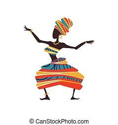 woman, tanzt, weiblicher tänzer, afrikanisch, eingeboren, abbildung, traditionelle , hell, vektor, turban, ethnisch, kleidung
