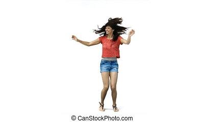 woman, tanzt, zeitlupe