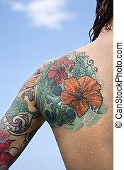 woman., tattooed