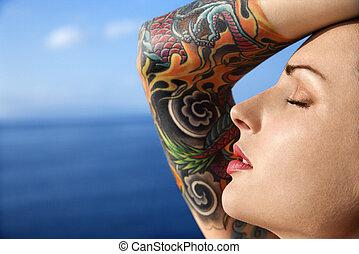 woman., tattooed, atractivo