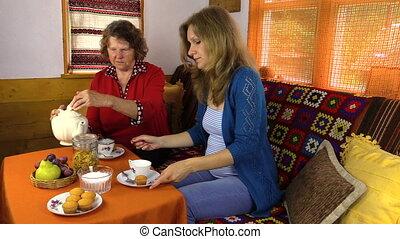 woman tea porcelain cup