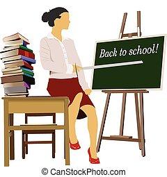 Woman teacher in classroom. Back to school. Vector illustration
