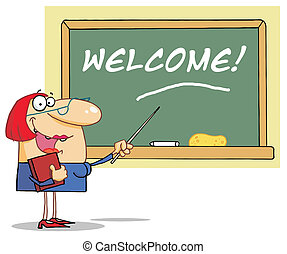 Woman Teacher Pointing To A Welcome
