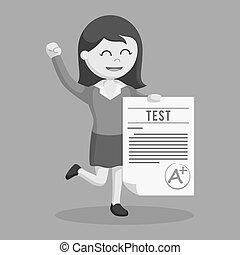 Woman teacher with a grade test