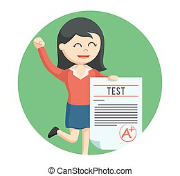 woman teacher with a grade test in circle background