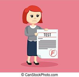 woman teacher with f grade test