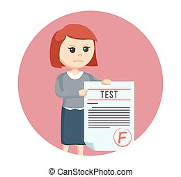 woman teacher with f grade test in circle background