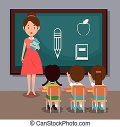 woman teacher with students in the classroom